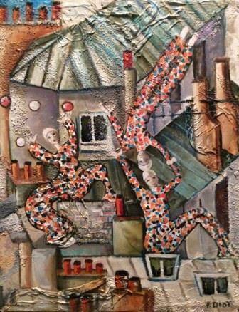 Peinture Arlequins sur les toits
