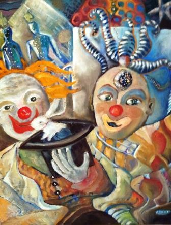 Peinture Le clown Musicien